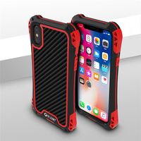 Aluminum Metal Case For IPhone X 10 With Carbon Fiber Back Cover Tempered Glass Screen Shockproof
