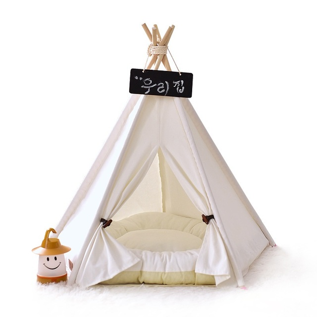 Portable Pet House Cotton Canvas Tent Dogs Cats Bed Room Cage Folding Kennel Wooden Tipi Teepee  sc 1 st  AliExpress.com & Portable Pet House Cotton Canvas Tent Dogs Cats Bed Room Cage ...