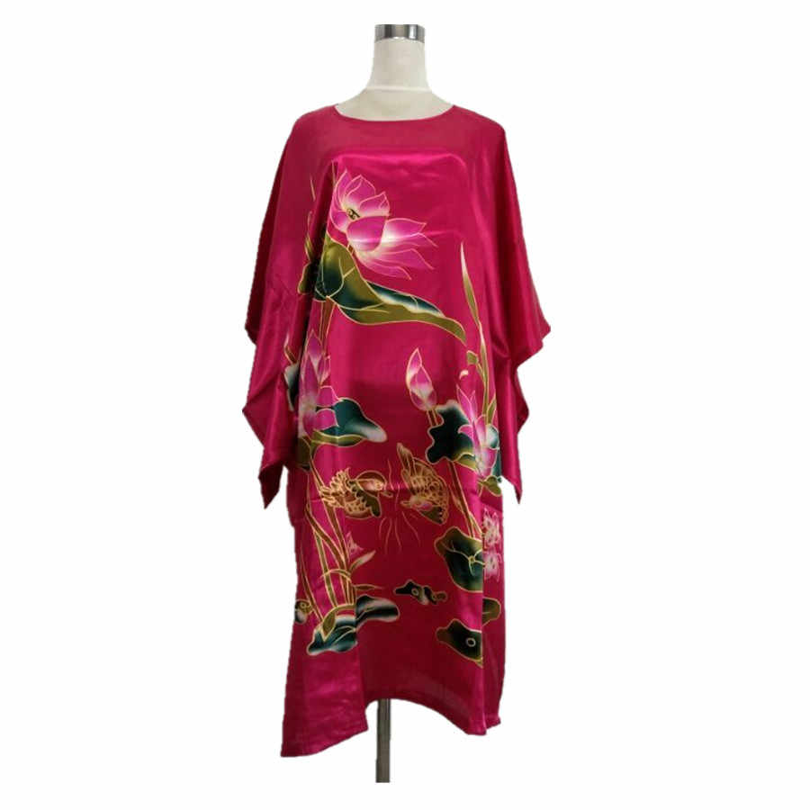 Hot Pink Female Faux Silk Bath Robe Gown Summer Lounge Looose Sleepwear Elegant Nightdress Women Sexy Nightgown One Size