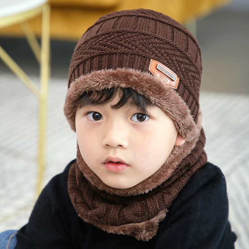 Balaclava Face Mask Hats cashmere baby Skullies Beanies Dual use Hats Scarf Boy Girl Children Wool Knit Hats Winter Thickening in Scarf Hat Glove Sets from Mother Kids