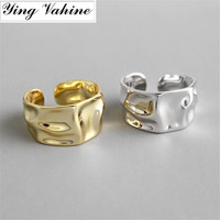 ying Vahine High Quality Wide Faced Hipster Glazed Ring 100% 925 Sterling Silver Irregular Gold Open Rings for Women