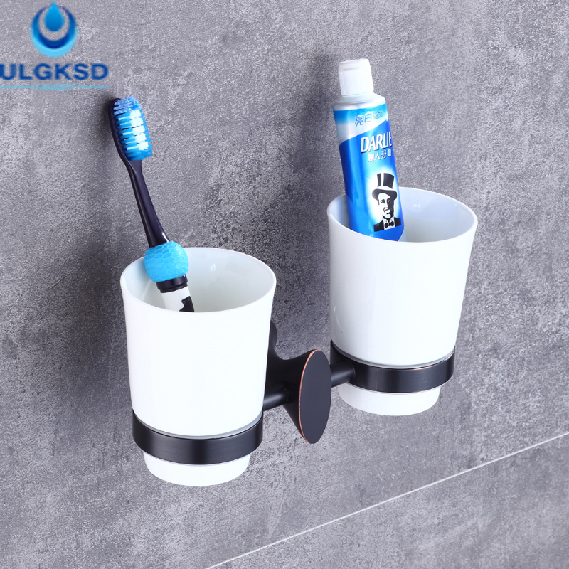 Ulgksd Bathroom Ancessorie Double Toothbrush Cup Holder Wall Mount Toothbrush Tumber Bathroom Toothbrush Cups allen roth brinkley handsome oil rubbed bronze metal toothbrush holder