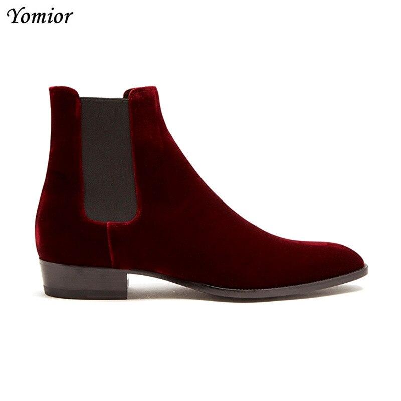 قميص مصنوع يدويا جودة المخملية خمر الرجال البقر أحذية من الجلد حذاء من الجلد الرسمي الأعمال وأشار تو الانزلاق على تشيلسي الأحذية الأحمر-في أحذية تشيلسي من أحذية على  مجموعة 2
