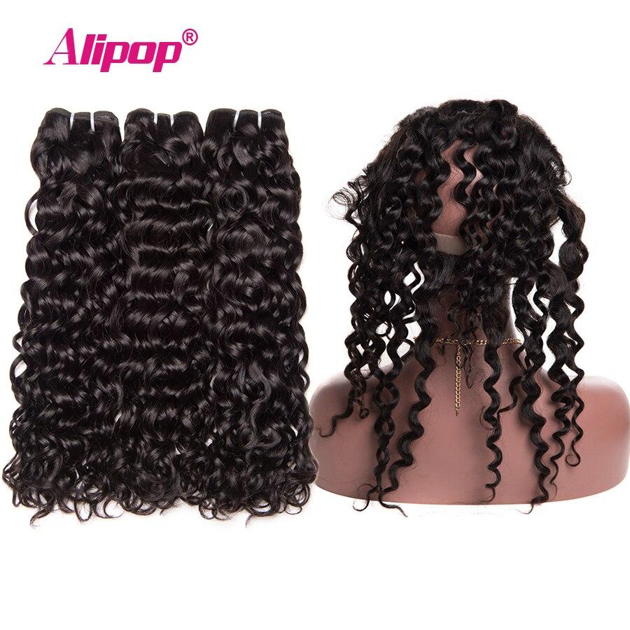 Water Wave 360 Lace Frontal Closure With Bundles Human Hair 3 Bundles With Closure Brazilian Hair Weave Bundles ALIPOP Remy