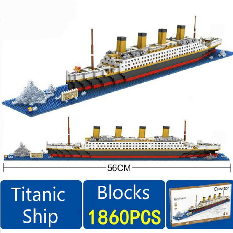 1860 pcs Titanic Cruise Ship Building Bricks Blocks Set 3D Boat Model Toys Compatible with Lepine Creator