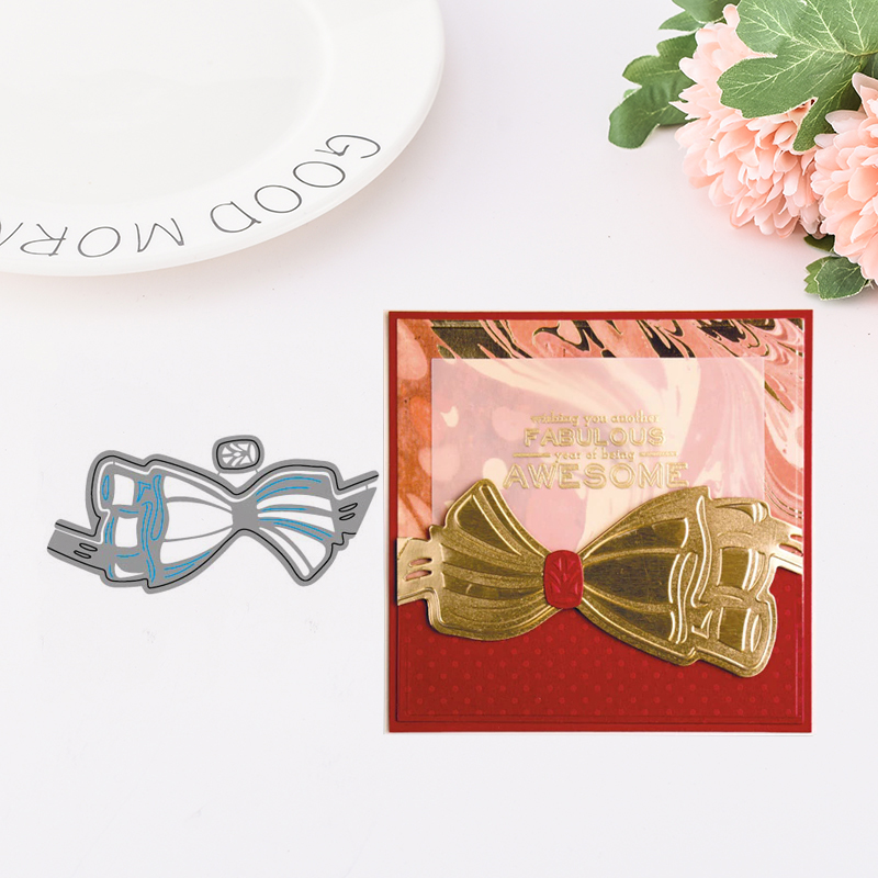 7Pcs Bow Cutting Dies Stencil Scrapbook Album Paper Embossing Craft Diy OX