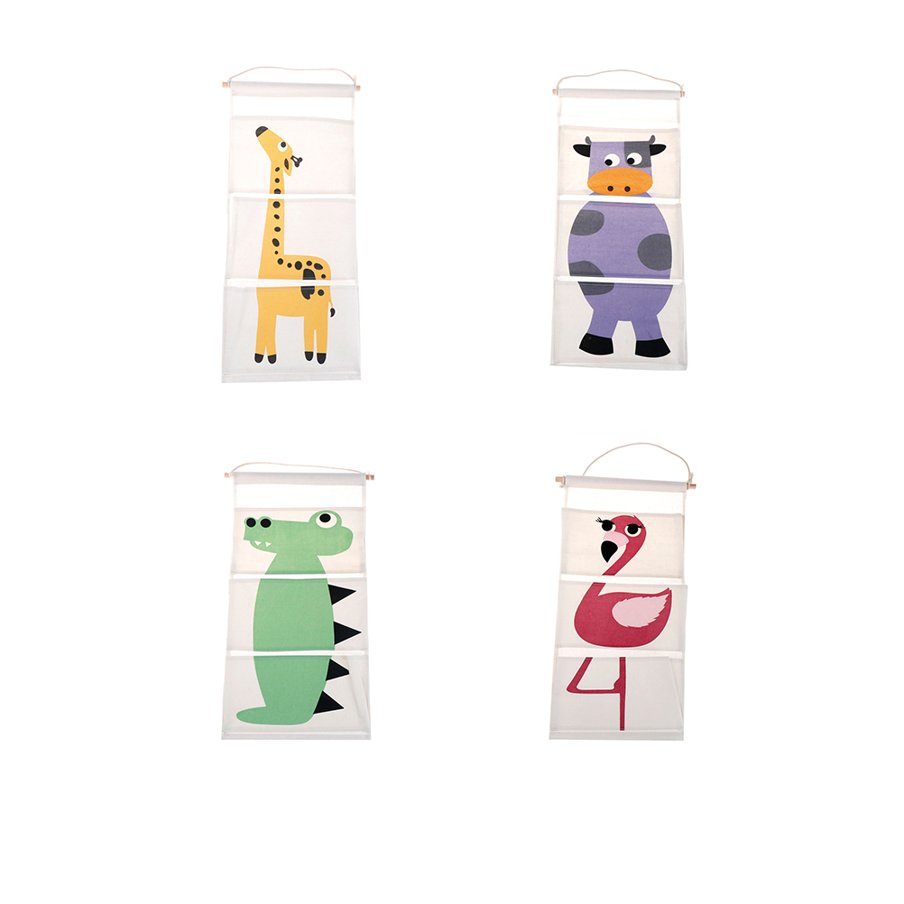 3PCs/set cute Cotton Wall Pockets Hanging Organizer for Kids Cartoon Animal Door Hanging Bag Linen 63*30cm