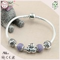 Good Quality Very Beautiful 925 Sterling Silver Snake Bracelet With Purple Stone Paving And Swan Couple Charms For Girls