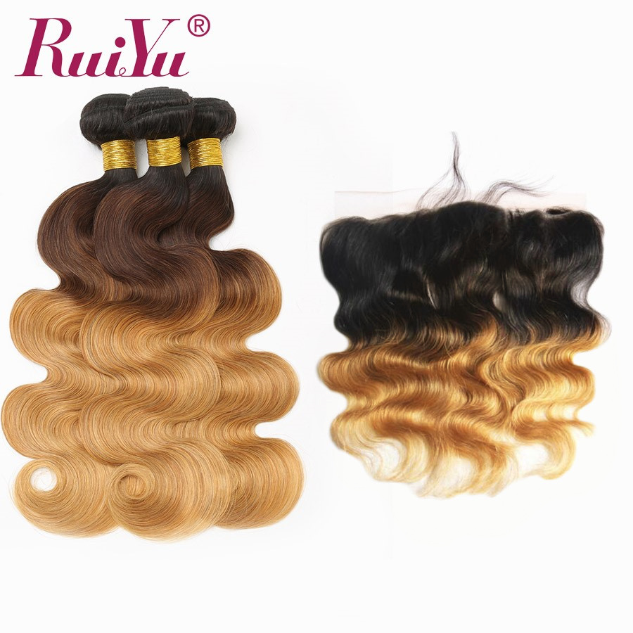 RUIYU T1B 4 27 Ombre Brazilian Body Wave Hair Weave Bundles With Closure Human Hair 3