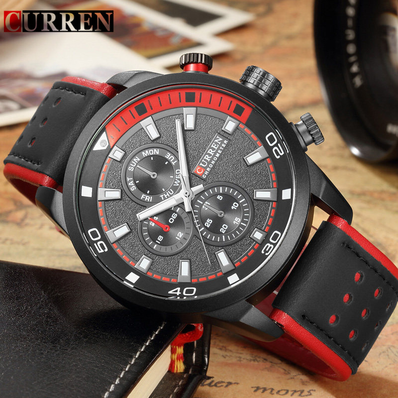 Mens Watches Curren Brand Watch Luxury Black Leather Wrist Waterproof Male Quartz Watch Men Casual Sport Clock Relogio Masculino curren top brand luxury mens watch men watches male casual quartz wristwatch leather military waterproof clocks sport clock 8225