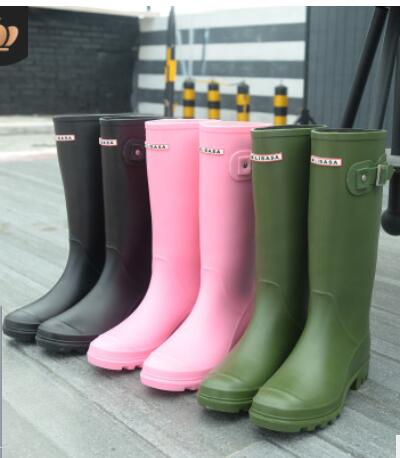 2018 Winter Rain Boots Women Fetish High Heels Boots Women Knee High Slip On Waterproof Low Solid Size 36 40 Mujer Rain Boots In Knee High Boots From Shoes