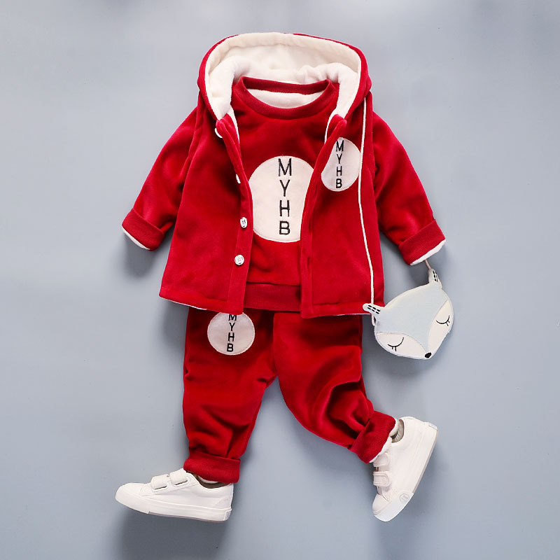 Baby Boys Winter Suit 2018 New Cotton Sweater+Thickened Button Hooded Coat+Pants 3Pcs Plus Velvet Children Kids Clothing Suits 2016 new suit boys clothes brand winter sweater for kids 3 13 year with m word three piece set boys vest pants coat a 26145