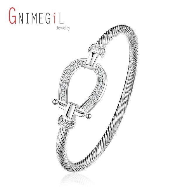 GNIMEGIL 925 Stamped Silver Plated Filles Horse Shoe Bangle Water Drop Bracelet