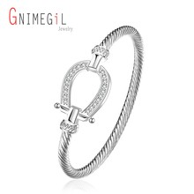 GNIMEGIL Drop shipping Fashion Silver Rhinestone Wrap Cuff Bracelets Horseshoe Bangles for Women Brand Jewelry Valentine Gifts