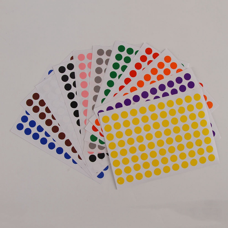 12 Sheets/Pack 8mm Round Dot Color Label Self Adhesive Dot Sticker Office School Supplies kicute 70sheets pack self adhesive blank label paper price sticker stationery mark sticker for office stores libraries supplies