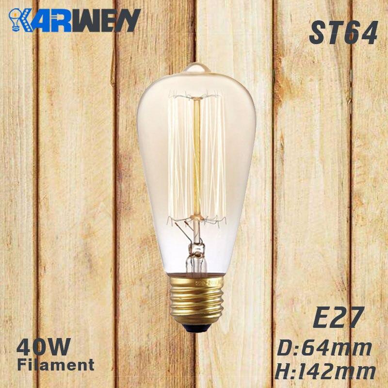 Эдисон лампы E27 40 Вт накаливания подвесной светильник в стиле ретро 220V ST64 A19 T45 T10 G80 G95 ампулы Винтаж лампа Эдисона лампа накаливания светильник лампочка - Цвет: ST64 filament