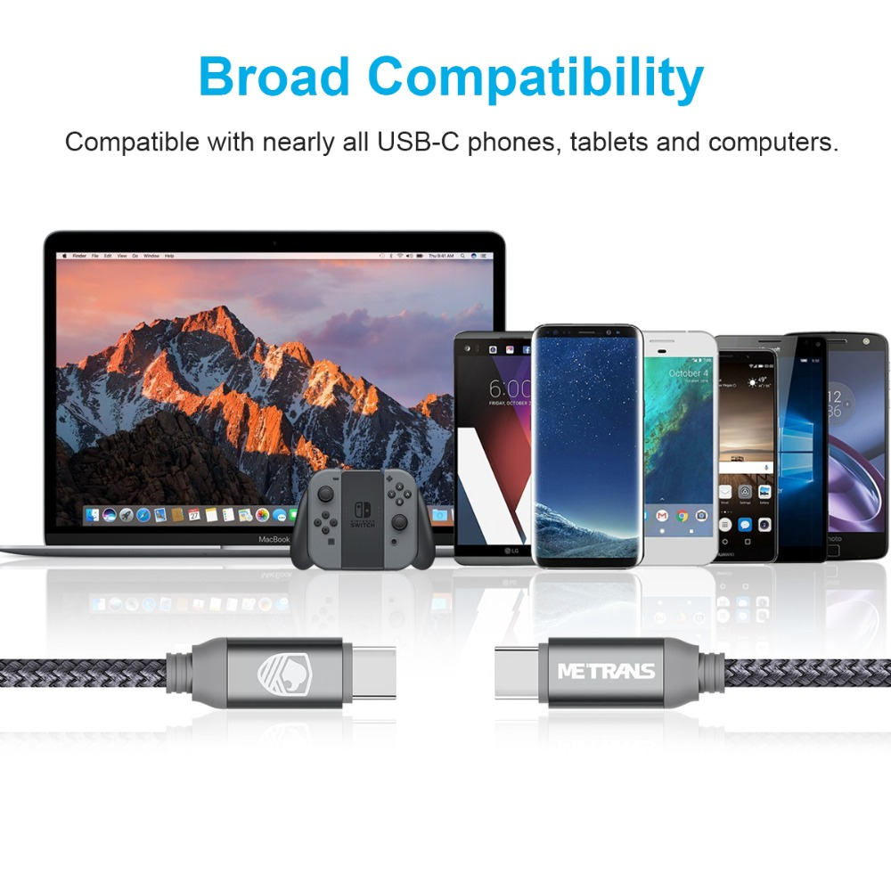 Metrans USB Type C To USB C Cable Reversible Connector Replacement for USB C Port Devices 6FT/2M For Samsung Galaxy S9 S8 Plus
