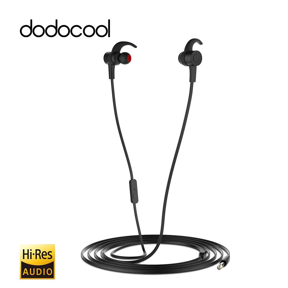 Dodocool Hi-Res de 24 bits de alta resolución en la oreja auriculares estéreo deportivos con micrófono de 3,5mm jack chapado en oro enchufe de Audio para iphone 7 6 6 s