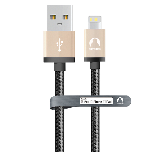 Snowkids 2 pçs/lote 2 m cabo para iphone 8pin MFi certified para relâmpago a cabo usb transmissão de dados Síncrona de metal vender
