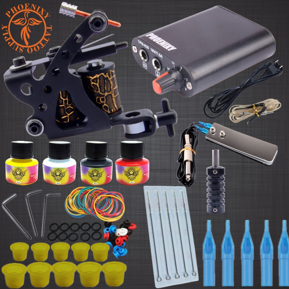 Professional Tattoo Kits Top Artist Complete Set 1 Tattoo Machine Gun Lining And Shading Tattoo Inks Power Needles Tattoo Supply 6 abrasives single ended tube heating electric rods dry $ stainless steel pipe