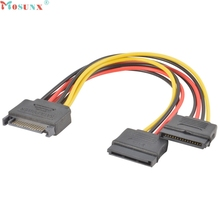 Mosunx Factory Price SATA Power 15-pin Y-Splitter Cable Adapter Male to Female for HDD Hard Drive 0217 Drop Shipping