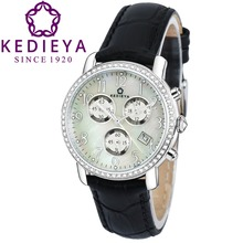 KEDIEYA Luxury Waterproof Chronograph Sports Watches Genuine Leather 60 Zircon Diamond Mosaic Date Ladies Womens Watches