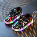 Children Shoes With Light Boys Led Growing Sneakers 2017 New Spring Print Fashion Sport Girls Shoes Lighting Kids Shoes EU 21-30