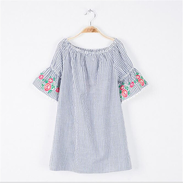 2017 Big Baby Girls Striped Lace Dresses Teenager Fashion Floral Dress Junior Summer Clothing Childrens Clothes