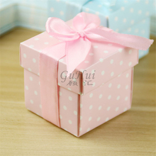 Personality Wedding Candy Box Child Birthday Square Gift Box Pink Blue Polka Dots Baby Shower Cookie Chocolate Package Ribbon