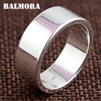 BALMORA 100% Real 990 Pure Silver Classic Round Rings for Women Men Couple Gift Simple Fashion Ring Jewelry Anillos SY21408