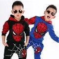 2016 nueva ropa de los niños al por menor del hombre araña de dibujos animados de moda suéter de algodón y pantalones de verano Camiseta del muchacho