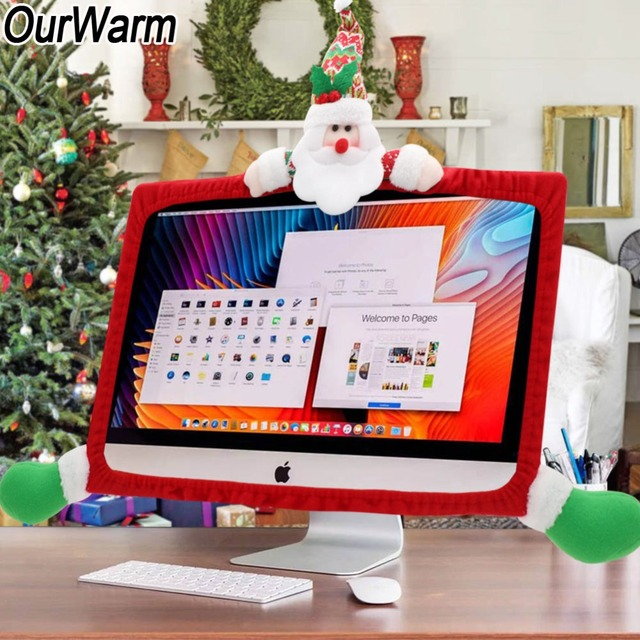 ourwarm christmas laptop computer display cover decorative new year diy tv decoration monitor screen protector 44