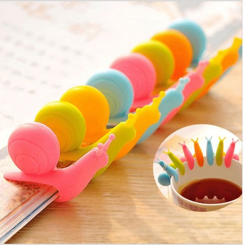 6pcs/bag Lovely Tea Bag Clip Candy Colors Snail Shape Wine Glass Cup Clip Label for Hanging Tea Bag New Arrivals Tea Tools Lahore