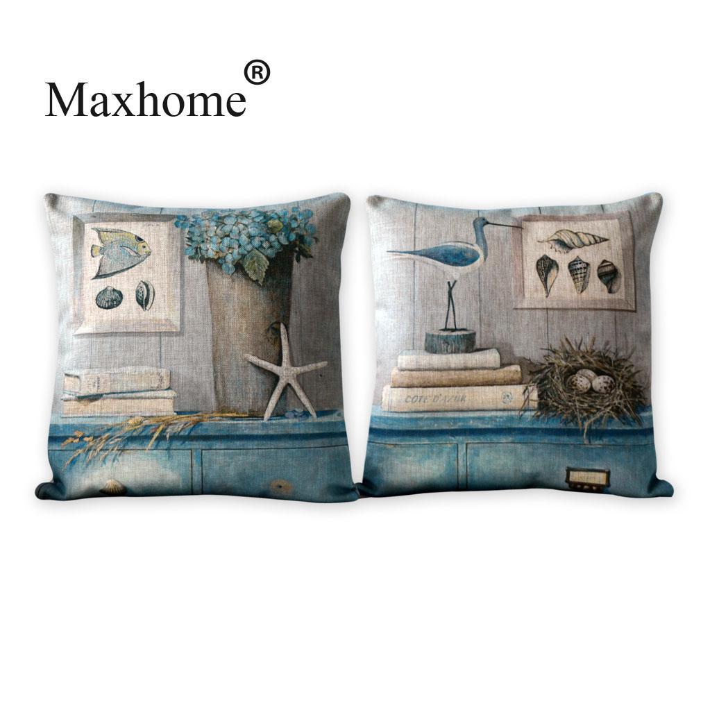 Vintage Marin Printed  Linen Pillowcase Fish And Bird Cushion Decorative Pillow Home Decor Throw Pillow Cushion  45X45