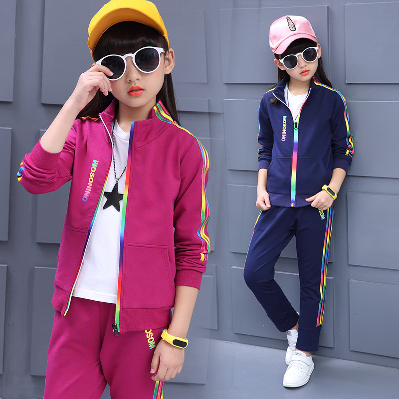 Spring 2018 Sport Girls Clothes Sets Casual Kids Active Trench Two Sets Children Clothing Children Girls Tracksuits Kids Clothes brand children girl casual tracksuits infant outfits kids clothing sets girls sport suit for children babi girls tees leggings