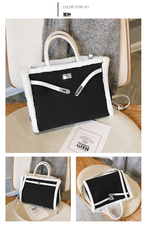 Korean handbag large capacity bucket hand bag designer big tote designer Fur women messengerc winter shopping wool no lock 113