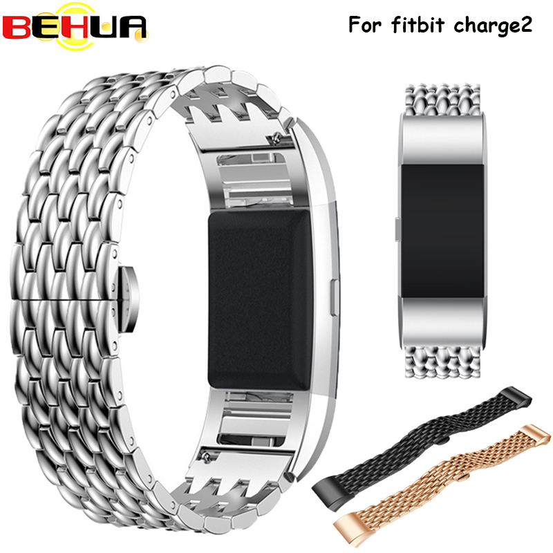 Stainless Steel Wristband Strap For Fitbit Charge 2 Watch Strap Band Replacement Genuine Metal Bands for Fitbit Smart Bracelet quality bracelet stainless steel strap 18mm for fitbit charge 2 smart watch metal band with adapter