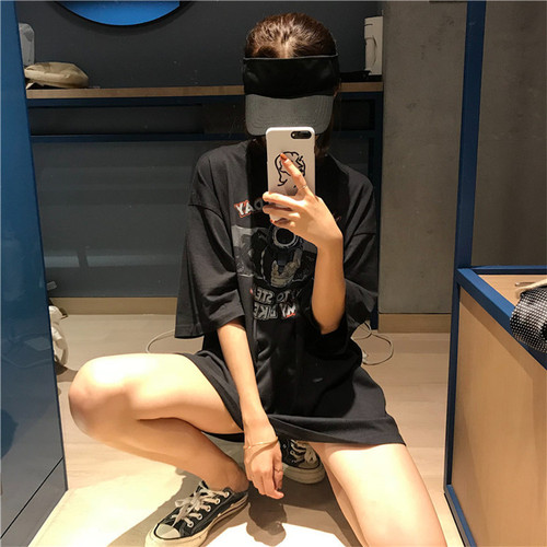 Long Design Letter Printed Vintage Cotton O-neck Top 2019 Summer Spriing Black Fashion All Match Female Women T-shirts