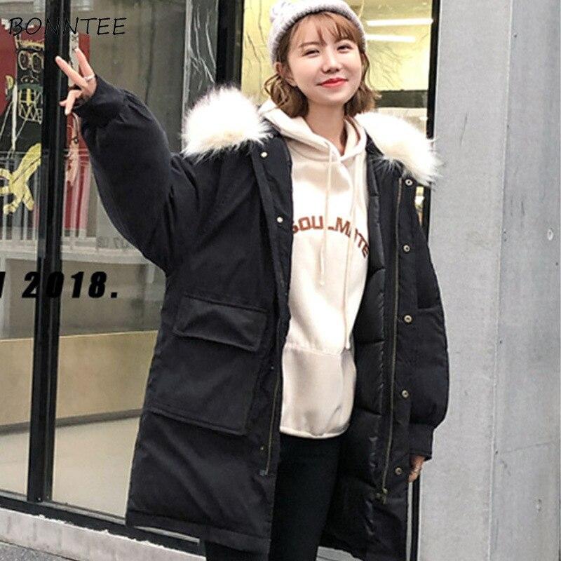 Étudiant Fourrure Mode Coréenne Casual Col D'hiver Chic La Coton De Faux Femmes Parka blue Parkas À Épais Manteaux Solide yellow Poches red Beige black Manteau Chaud YTp68UvW