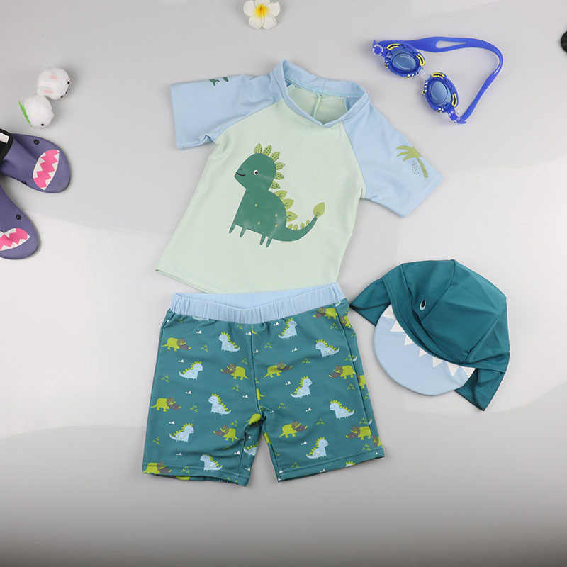 Для маленьких мальчиков ясельного возраста, с проектом динозавра из мультфильма, купальник, Детские купальники, Детская Плавание ming купальные костюмы UPF50 + анти-УФ Плавание с защитой от солнца, пляжная одежда