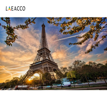Laeacco City Street Eiffel Tower Cars Sunset Scenic Photography Backgrounds Customized Photographic Backdrops For Photo Studio