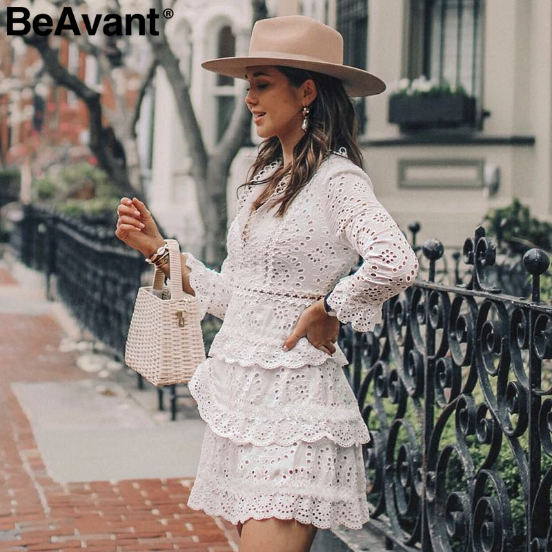BeAvant Hollow Out Cotton Embroidery Ruffled Women Dress V-neck A-line Long Sleeve Female Sexy Dresses Elegant Party Midi Dress