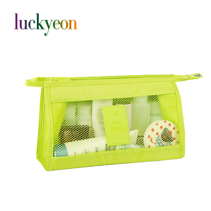 Fashion Women Travel Cosmetic Bag High Capacity Portable Mesh Transparent Mak Up Storage ...