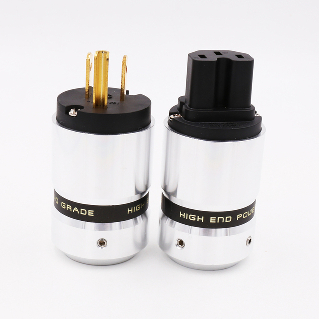 X OEM  Hifi audio gold plated US AC power plug  extension adapter