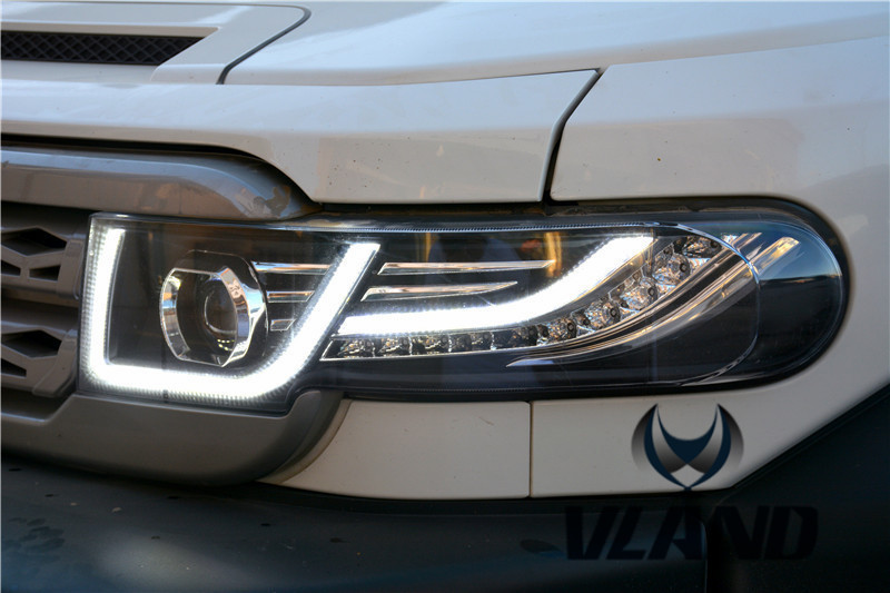 Free shipping for VLAND Car Lamp for Toyota FJ Crusier LED Headlight+Front Middle Grill LED Sequential Turn/Signal Light 2007-15 free shipping vland car lamp for toyota
