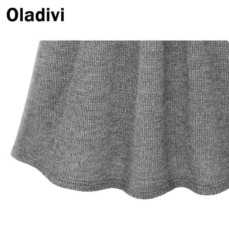 Oladivi الأزياء ملابس حريمي أنيقة السيدات الصلبة طويل كم فستان كاجوال كم طويل الأساسية تونك الإناث فساتين رمادي أسود XL