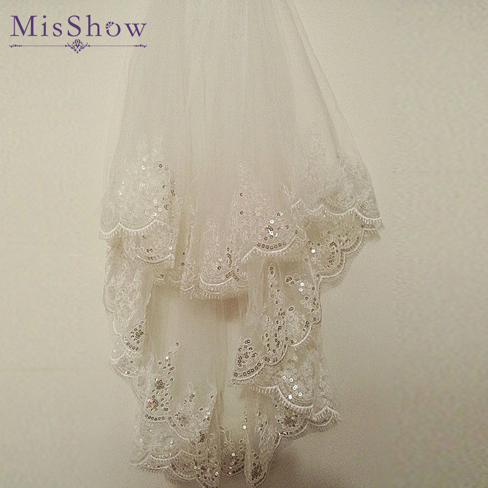 Fashionable Tulle White Ivory Two Layers Cheap Wedding Veils Sequins Edge Comb Wedding Accessories 1.5 M Short Bridal Veil