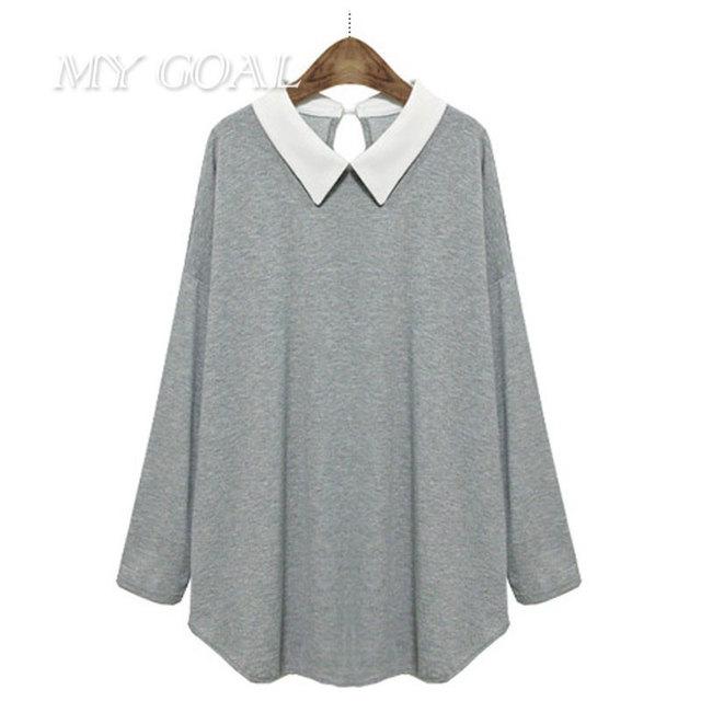 Moda outono mulheres Soltas Tops Casual Plus Size 5XL Camisas mulheres Blusas Tamanhos Grandes de Algodão Sólida Manga Longa Meninas Topo Blusas