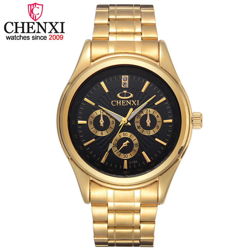 CHENXI Brands Top Luxury Gold Quartz Men Watch Stainless Steel Waterproof Male Wristwatch Famous Fashion Gift Clock Man Watches luxury top brand chenxi men dress watch stainless steel gold silver quartz wristwatch waterproof retro male business clock