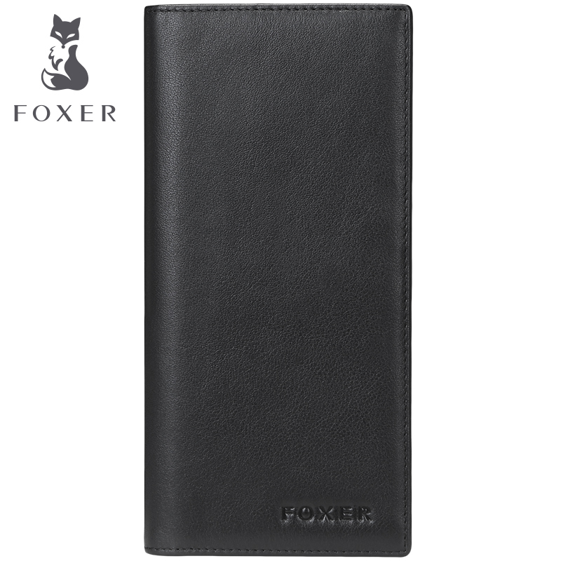 FOXER Brand Genuine Cowhide Men Long Wallet 2017 Fashion Business Purses For Men's High Quality Clutch Bag Purse 2017 luxury brand men clutch cowhide wallet genuine leather hand bag classic multifunction mens high capacity clutch bags purses